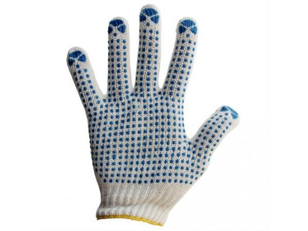 Перчатки, 4 нитки с ПВХ-Точка, белые (8410)